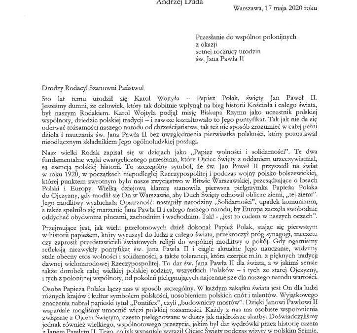 List Pana Prezydenta Andrzeja Dudy skierowany dopolskich wspólnot zokazji 100-lecia urodzin św.Jana Pawła II